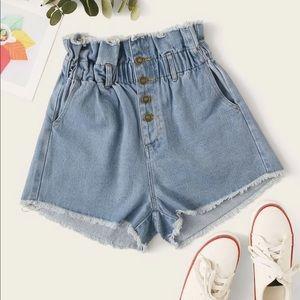 Pants - Button Fly Raw Hem Denim Shorts